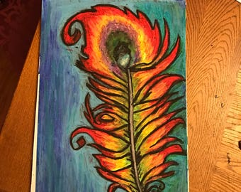 Phoenix Feather 2 - oil pastel drawing
