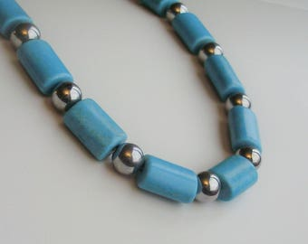 Turquoise and Silver Necklace from GraceStoneDesign