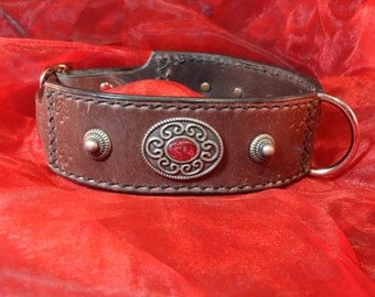 "dog leather collar ""Serenity"", chased, indian style conchos and rivets"