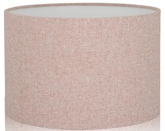 Shetland Blush Pink Brushed Linen Style Cylinder / Drum Lampshades /  Pendant Shade / Table