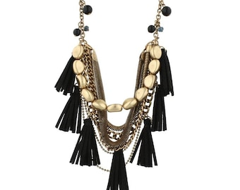 Gold and Black Multi Strand Tassel Necklace