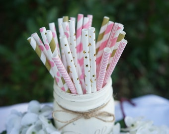 Gold and Pink Paper Straws, Baby Shower, Bridal Shower, Wedding