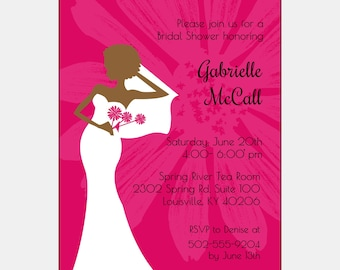 African American Bridal Shower Invitation - Pink Chic | African American Bridal Tea | African American Bridesmaids Luncheon