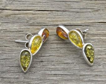 Vintage Sterling Silver Baltic Amber Earrings Stud Design 925 Jewelry