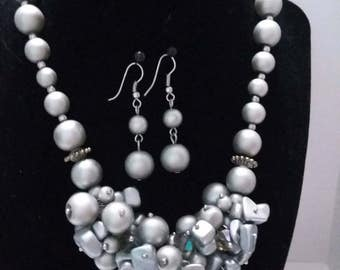 Silver Gray and crystal beaded  statement choker with matching earrings