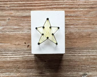 Wood square box with a star in string art, Desk organizer in reclaimed wood