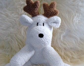 deer, elk, Moose, brown, white Stuffed Animal Hand Stitched Sock Critter  stuffy cuddly toy fuzzy  loviesstuffie reindeer