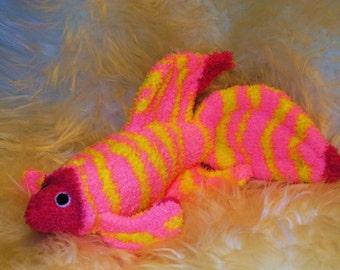 betta Siamese fighting fish pink yellow rainbow Stuffed Animal Hand Stitched Sock Critter stuffy cuddly toy fuzzy stuffie lovies