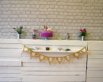 SWEETS Banner Hessian Burlap Celebration Engagement Wedding Party Banner Bunting Decoration Birthday baby shower bride to be bridal party
