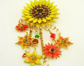 """Lunch at the Ritz 2GO  Sunflower Brooch  4"""" Long"""