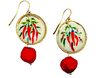 Chilli on ceramic earrings
