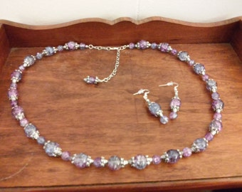Violet Crystal Necklace and Ear Rings