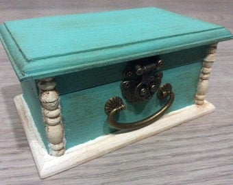 Mint Teal Shabby chic jewelry box