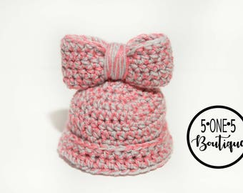 Newborn Pink and Gray Bow Hat