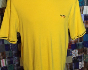 Vintage Retro Men's  Tommy Jeans Yellow Pullover Shirt, Small Spellout Size XL