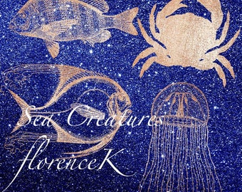 Deep Sea Ocean Creatures Fishes Crab Aragosta Jellyfish Beach Home Restaurant Clip Art 300 dpi Commercial Peach Pink Rose Gold Glitter