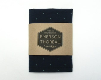 Navy Blue Pocket Square with Embroidered Emerald Green Dots / Handkerchief Hanky Cotton Polka Dot Simple Classic Spring Summer Wedding Mens