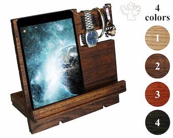 iPad holder wood Desk organizer wood Docking station men Charging station organizer Phone stand Apple watch stand iPhone holder iwatch dock