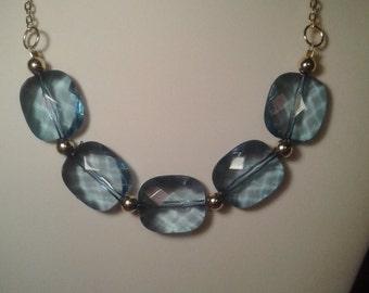 Square blue necklace chunky hobbies4twins