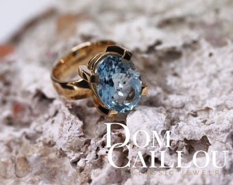 Aquamarine ring 9.97 ct 750 gold (18ct) communication