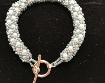 Blue and White Circular Bracelet