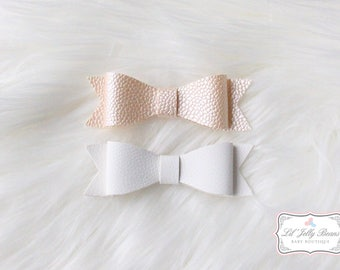 "Hair Bows Pink & White- ""Cotton Candy"""