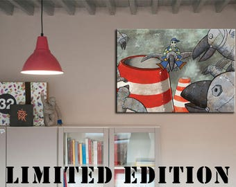 canvas painting  , kids prints ,Limited Edition-STEELCROWS- wall ideas for kids, art work for kids