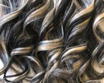 Full Head of Clip-In Hair Extensions - Dark Brown with Platinum Blond Streaks