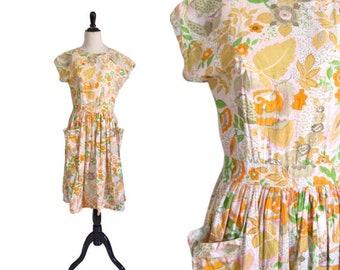 Vintage 1960's Floral Day Dress - Size M