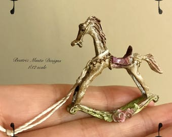 OOAK 1/12 scale dollshouse miniatures rocking horse toy hand made and decirated.