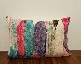Vintage Moroccan boucherouite pillow  , Kelim  Boucherouite pillow ,P05