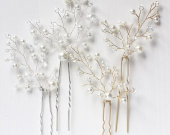 Bridal Hair Pins Pearl decorated Hair Pins Bridesmaid Hairpins Bridesmaid Hair Pins  Wedding Hair Pins Bridal Hair Pins Set of Two