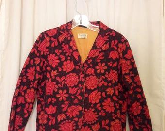Plus Size Vintage Floral Blazer