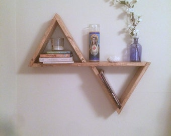 Triangle Shelf, Wood Shelf, Geometric Shelves