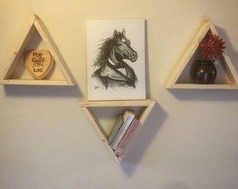 Set of 3 Pine Triangle Shelves
