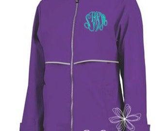 Violet Rain Jacket - New Color Violet Charles River Rain Coat - Women's Rain Coat - Monogrammed Full Zip Charles River Rain Jacket - Purple