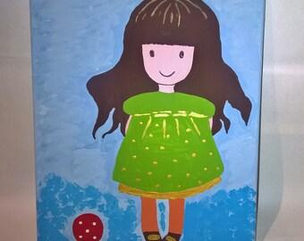 Happy little girl acrylic painting