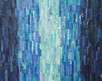 Colour Washed Sea Blues. Abstract art collage on canvas.