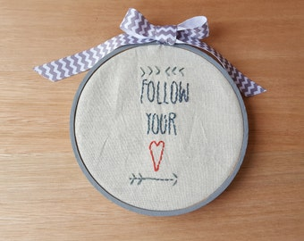 Primitive Stitchery Pattern, Embroidery, Hoopla, Follow Your Heart, Home, Gift, Memento,  Instant Download