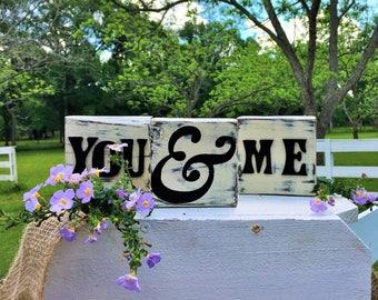 Hand painted You & Me block set - white distressed wooden blocks - wedding decor - Shelf Sitter Blocks - table decor --bookshelf blocks
