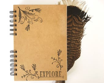 Explore travel journal | Wooden notebook | A5 Notebook | Journal Diary | Travel diary | Timber book | Gift for her | Mothers Day