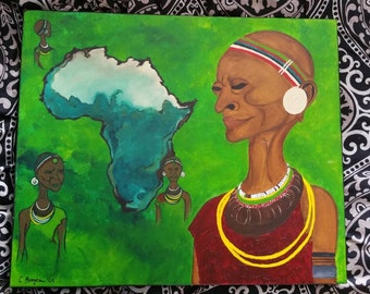 Acrylic on canvas mounted the African woman