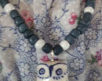 kriswurk Blue white owl with denim beads