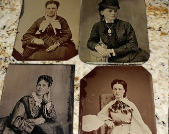 Gorgeous Gals:  Lot of 4 Antique Tintype Photographs of Beautiful Women