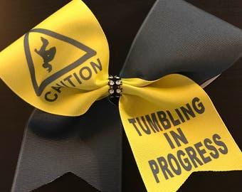 Caution Tumbling in Progress Cheer Bow