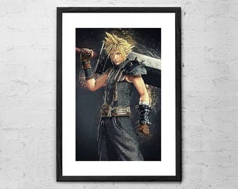 Final Fantasy - Cloud Strife - Illustration - Final Fantasy Art Print - Game Art - Game Poster - Video Game - Gaming - Final Fantasy Poster
