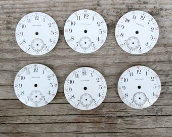 vintage waltham pocket watch dials lot of 6 - enamel watch dial - FREE U.S. SHIPPING