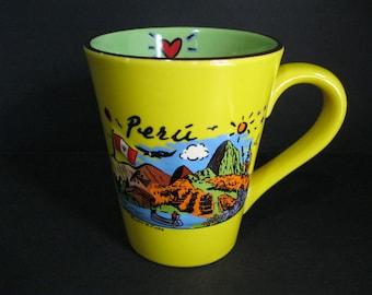 Peru Mug, Large Vintage Luke-A-Tuke Peru 3-D Mug, Luke-A-Tuke Collectible Mug, Peru Souvenir