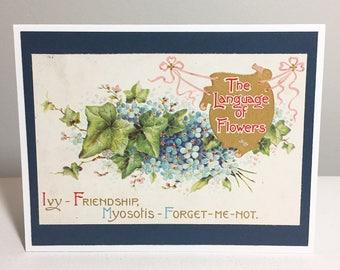 handmade card // vintage upcycled postcard // language of flowers // ivy // friendship // myosotis // forget me not // green // blue // navy