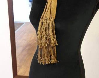 Beige cotton and silk-blend scarf